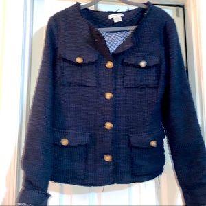 Liz Claiborne Navy Blue Textured Blazer/Jacket
